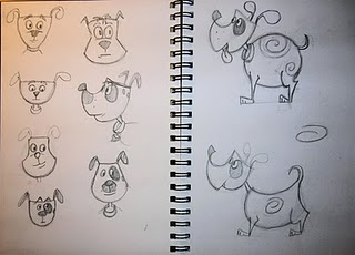 Sketches for Dale's personal project featuring a dog and a flea.
